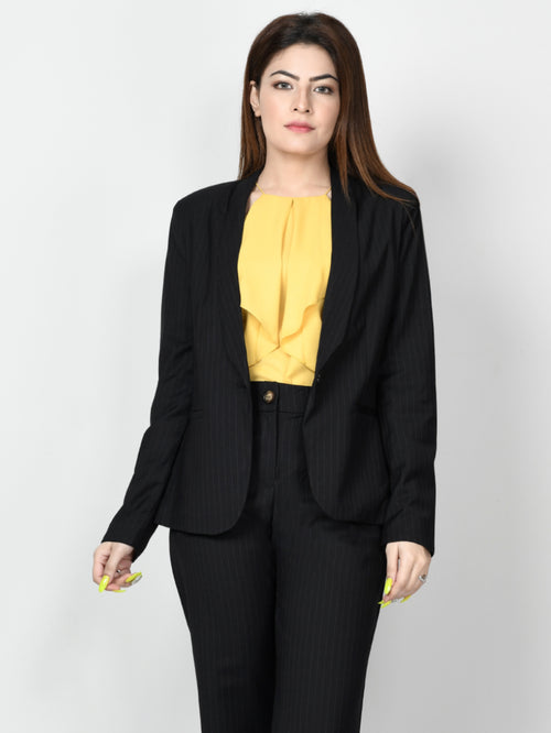 Striped Formal Coat - Black