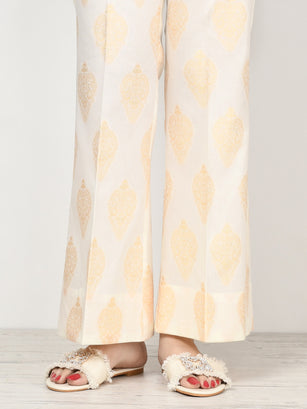 Unstitched Jacquard Trouser - Light Beige