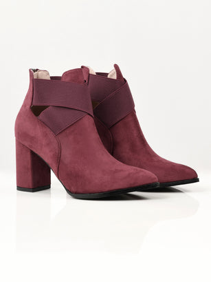 Criss Cross Suede Boots - Maroon