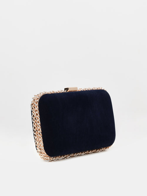 Chained Velvet Clutch