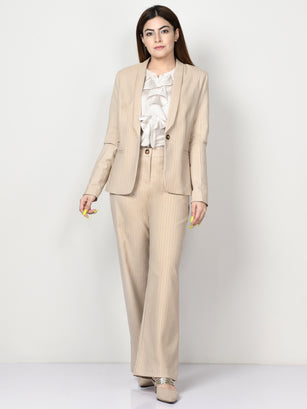 Shimmer Striped Formal Coat - Beige