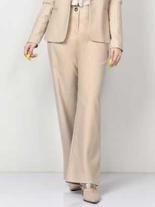 Shimmer Striped Suit Pants - Beige