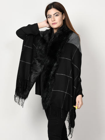 Check Fur Cape Shawl