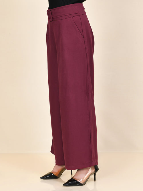 Belted Pants - Maroon