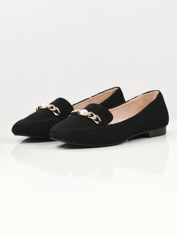 Textured Chain Shoes - Black