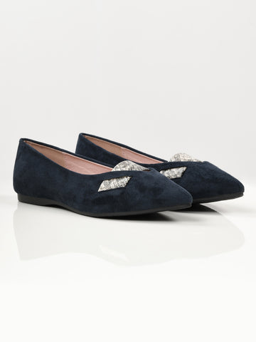 Printed Stripe Shoes - Navy Blue