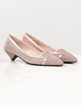 Pointed Shimmer Heels - Tea Pink