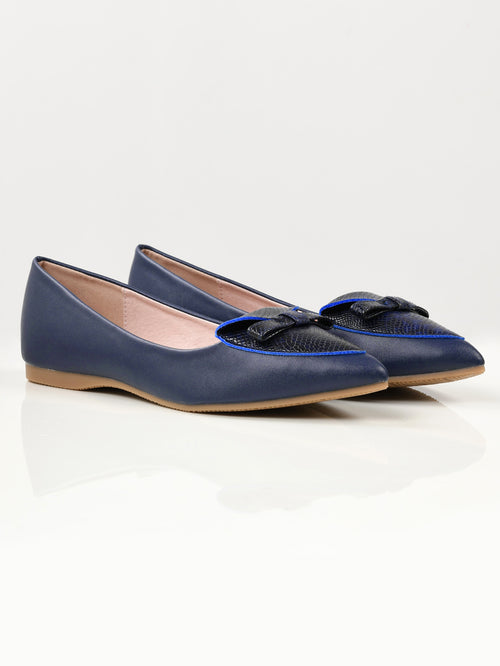 Textured Bow Pumps - Blue