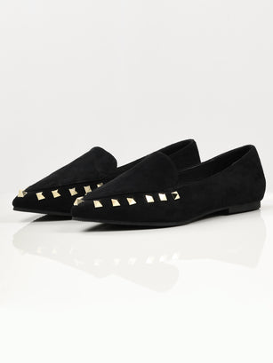 Studded Suede Shoes - Black