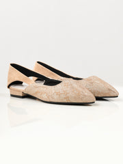Shimmer Net Shoes - Light Peach
