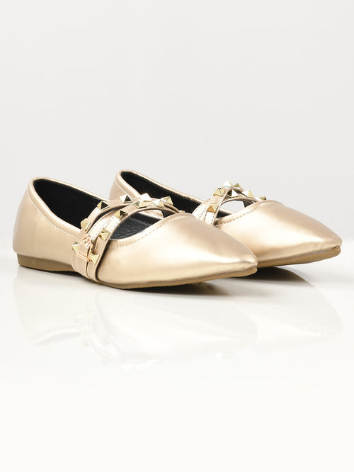 Studded Strap Shoes - Light Gold
