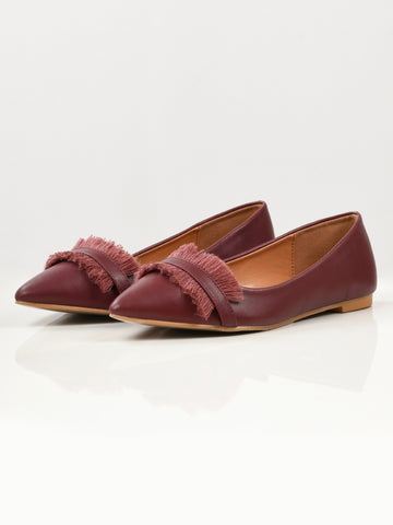 Fringe Shoes - Maroon