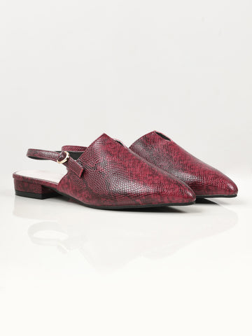 Snake Print Shoes - Maroon