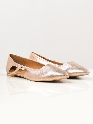 Shiny Flat Shoes - Tea Pink