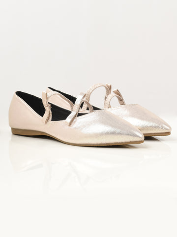 Shiny Pointed Shoes - Light Gold
