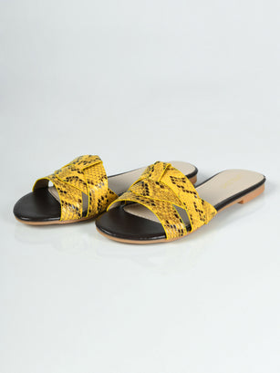 Textured Flat Sandals - Yellow
