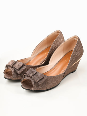 Glitter Bow Wedges - Copper