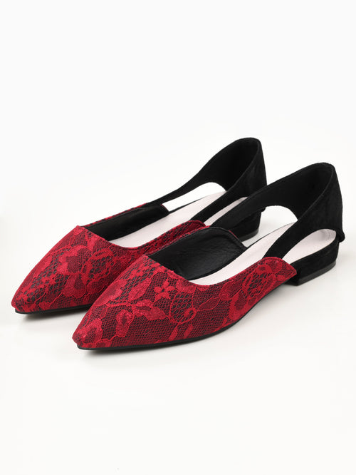 Shimmer Net Shoes - Maroon