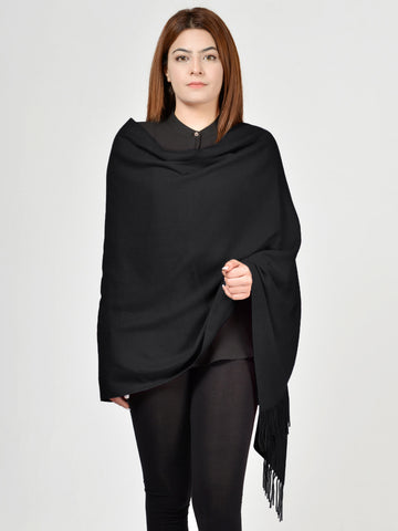 Plain Woolen Shawl - Black