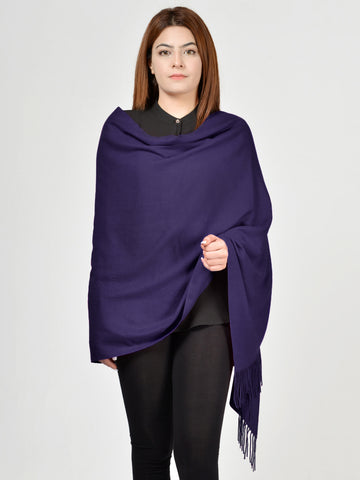 Plain Woolen Shawl - Dark Blue