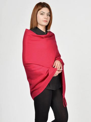 Plain Woolen Shawl - Dark Red