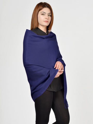 Plain Woolen Shawl - Blue