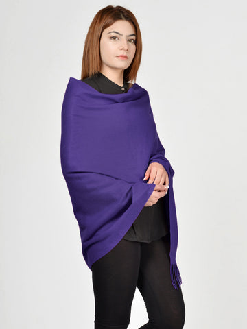 Plain Woolen Shawl - Royal Blue