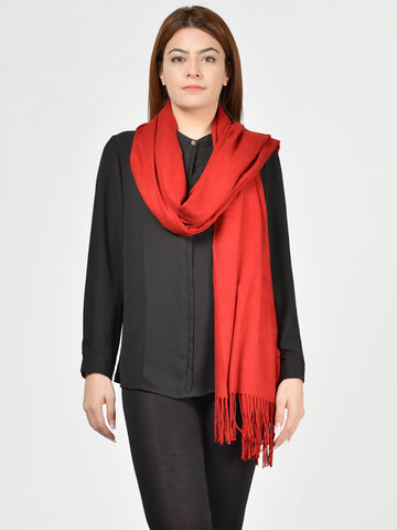 Plain Woolen Shawl - Red