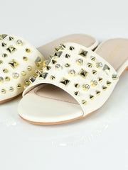 Studded Slides - Off White