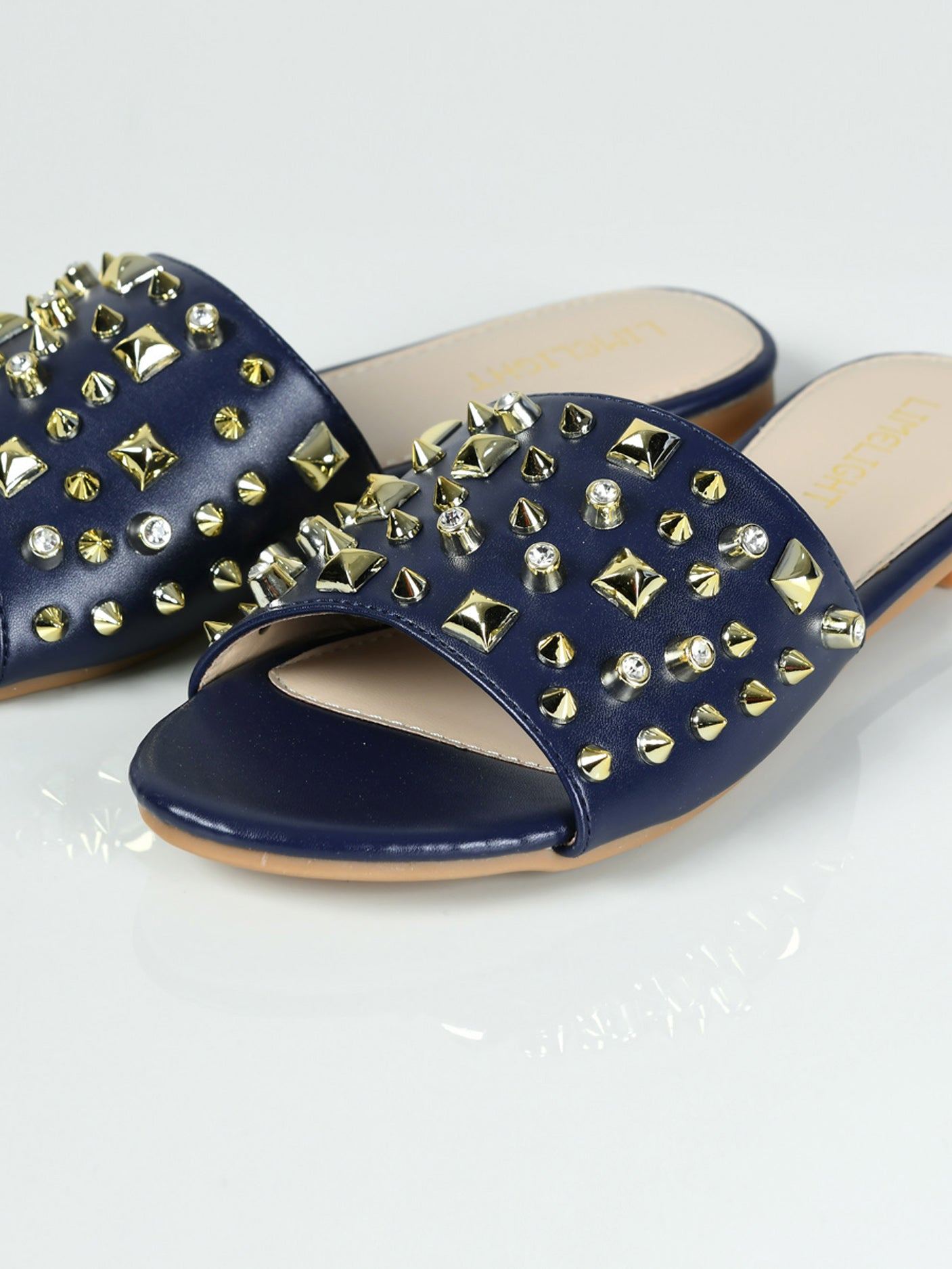 Studded Slides - Blue