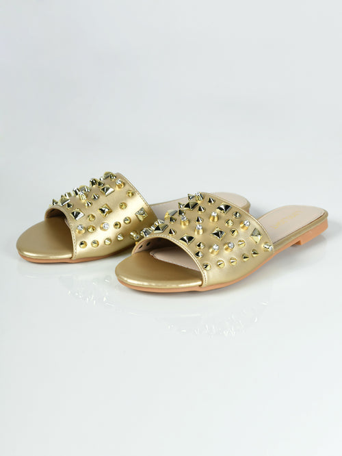 Studded Slides - Golden