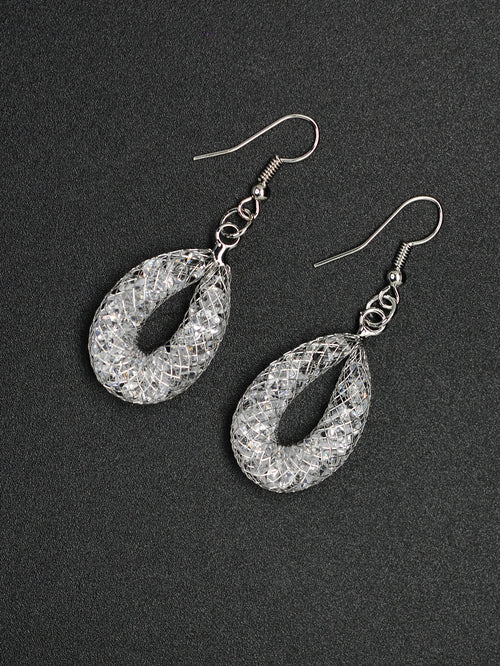 Silver Mesh Drop Earrings