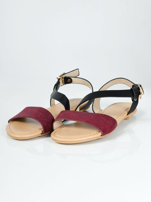 Textured Sandals - Purple