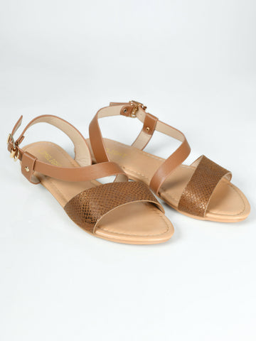 Textured Sandals - Brown