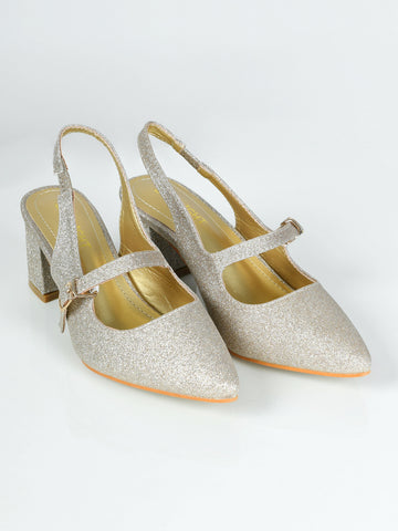 Shiny Block Heels - Golden