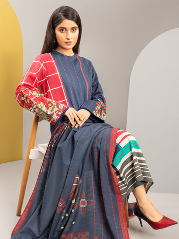 2-Pc Embroidered Winter Cotton Suit