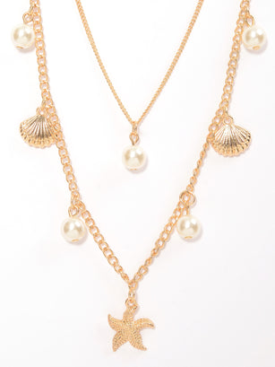 Layered Pearl Seashell Necklace