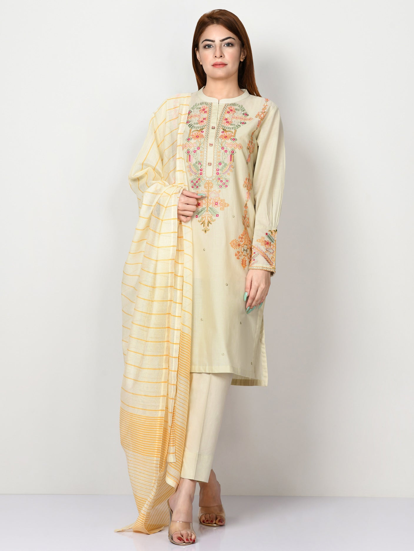 Embroidered Slub Lawn Suit
