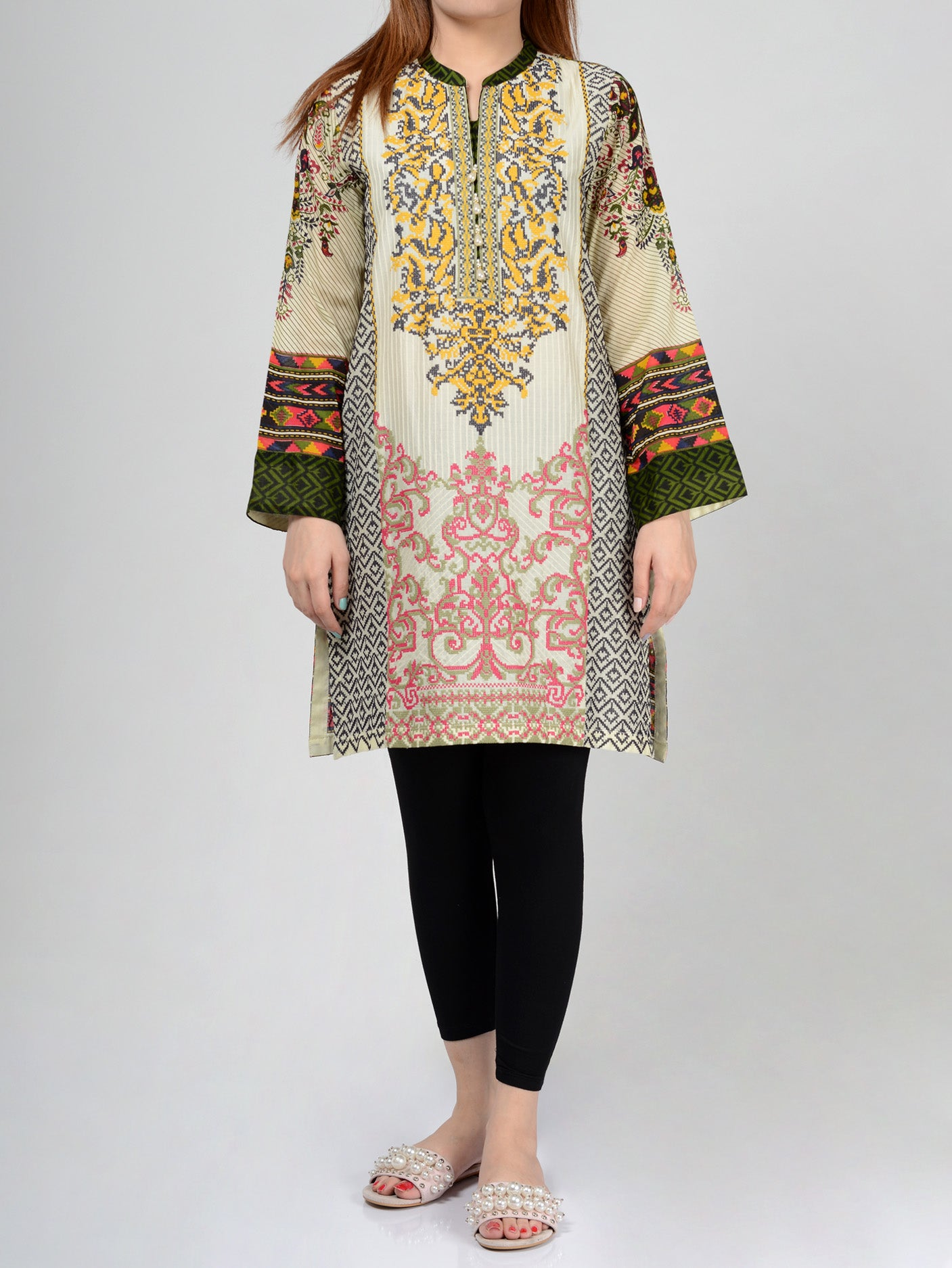 Pret Embroidered Lawn Shirt P0119 Limelight