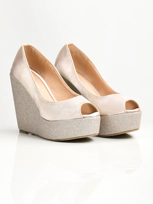 Satin Glitter Wedges - Light Golden