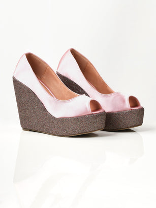 Satin Glitter Wedges - Pink