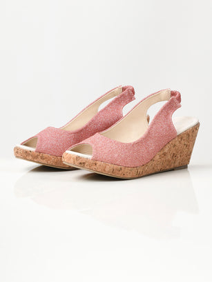 Glitter Wedges - Dark Peach