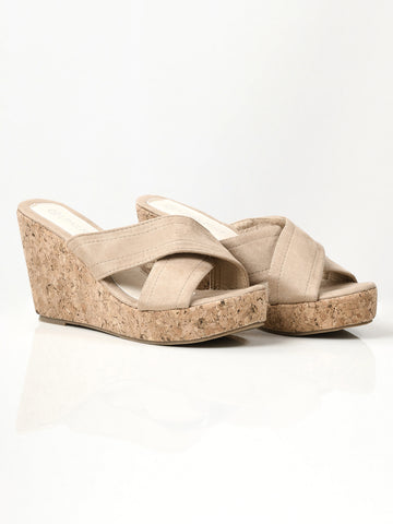 Criss Cross Wedges - Dark Beige