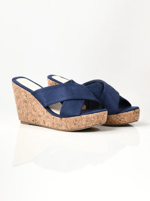Criss Cross Wedges - Blue