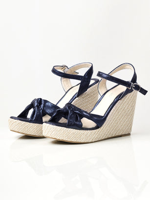 Shiny Knotted Wedges - Blue