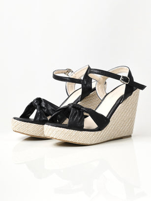 Shiny Knotted Wedges - Black