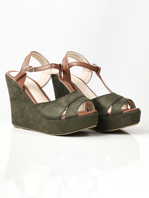 Suede Wedges - Army Green
