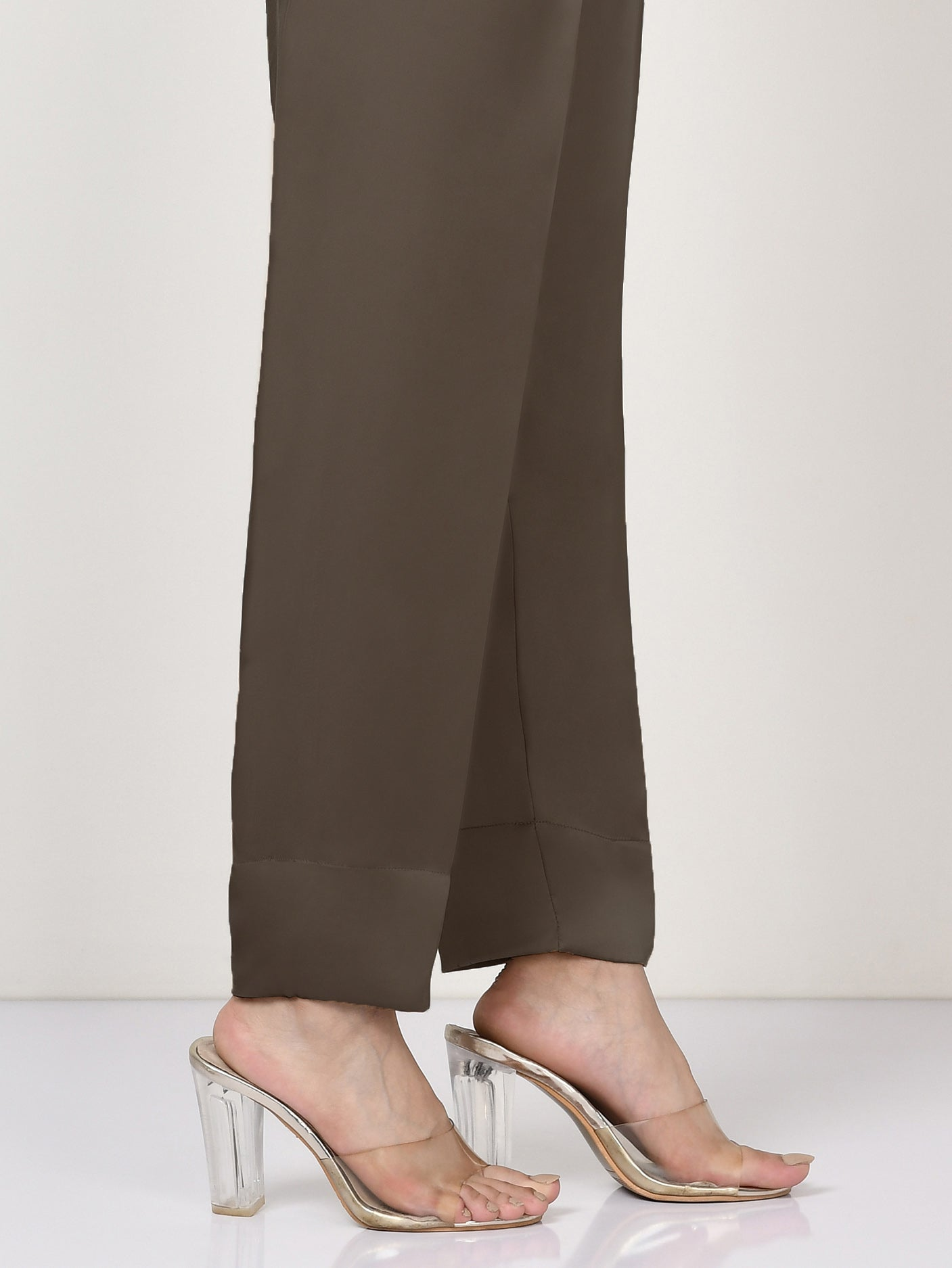 Silk Straight Trouser - Brown