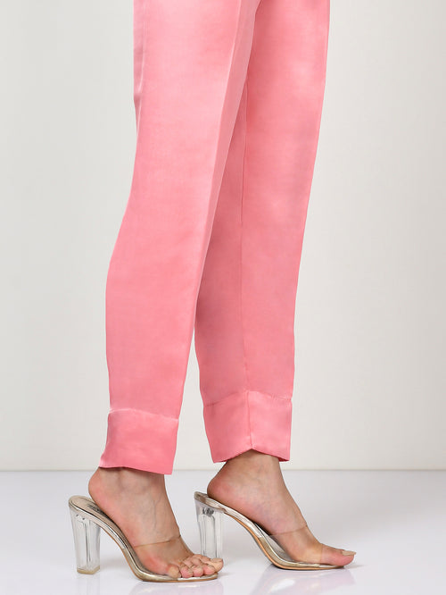 Silk Straight Trouser - Pink
