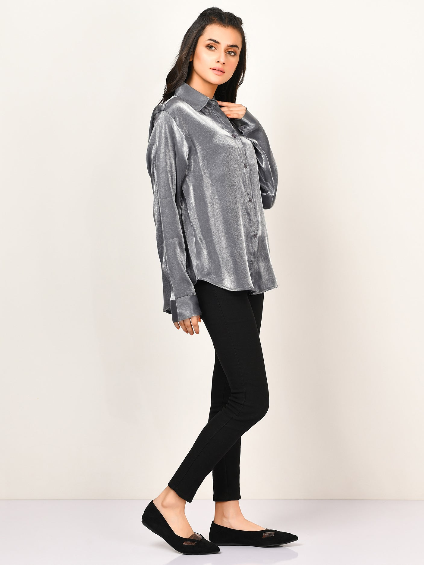 Shimmer Collared Top